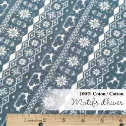flanelle motifs hiver bleu/gris